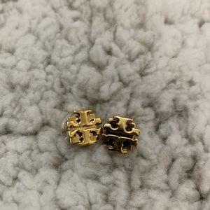 Gold Stud Tory Burch Logo Earrings